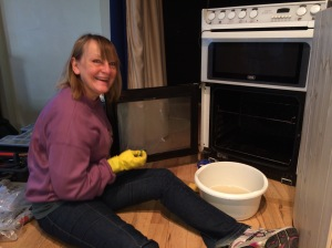 Since cleaning the oven was Gill's role in Act 2 it was only appropriate to let her do this at set build
