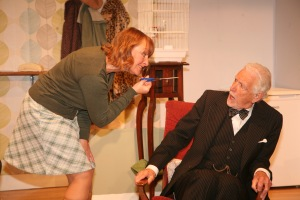 Gill as Yvonne, with Wyn as Mr. Broadbent