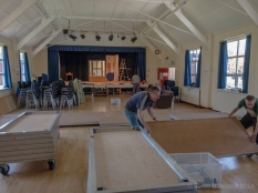 Rob and Tom erect the seating platforms
