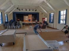 Rob and Tom erect the seating platforms